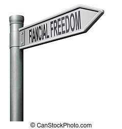 vej, til, financila, frihed