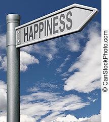 vej, til, lykke
