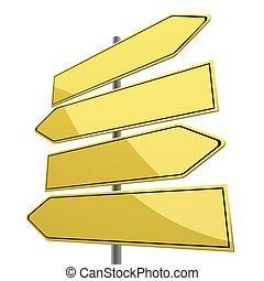 vej underskriv, blank, hos, fire, gul, pile, isoleret, på...