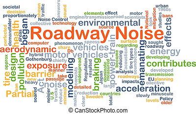vejbane, støj, baggrund, begreb