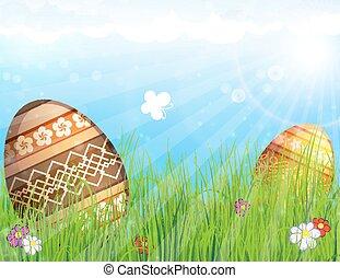 vejce, dále, louka, s, květiny