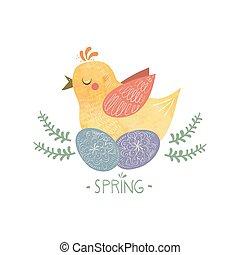 vejce, design, za, kuře, karikatura