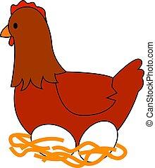 vejce, ilustrace, grafické pozadí., vektor, kuře, neposkvrněný