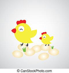 vejce, slepice, karikatura