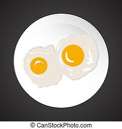 vejce, smažený, ilustrace