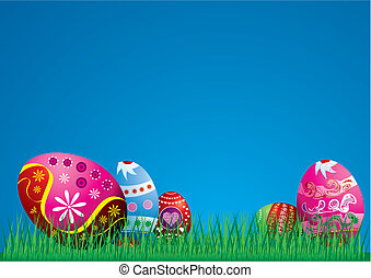 vejce, velikonoční, barvitý, ilustrace