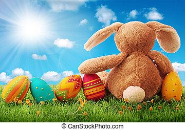 vejce, velikonoční, barvitý