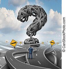 veje, konfusion, udfordring