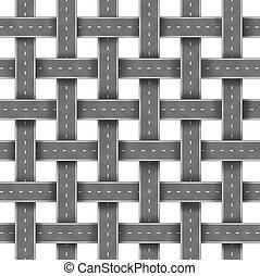 veje, og, gade, mønster