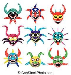 Vejigante mask for Ponce Carnival - Vector icons set of...