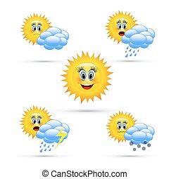 vejr, cartoon, icons.