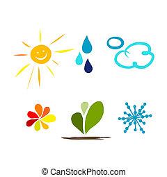 vejr, konstruktion, din, iconerne