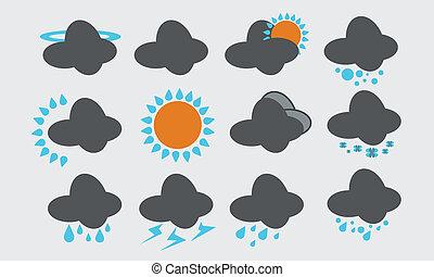 vejr, sæt, iconerne