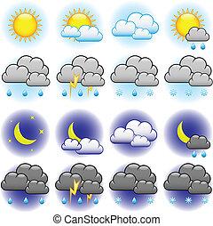vejr, vektor, iconerne