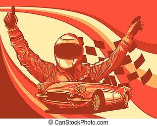vektor, ábra, autóverseny, lobogó, sofőr