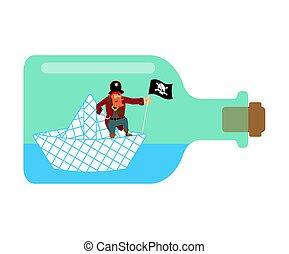 vektor, ábra, dolgozat, bottle., kalóz, csónakázik