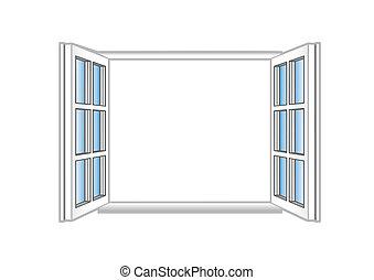 vektor, ábra, egy, műanyag, nyit ablak