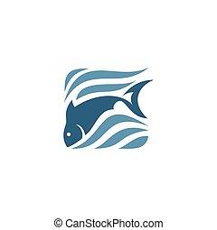 vektor, ábra, fish