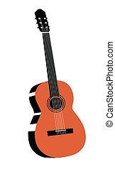 vektor, ábra, gitár, háttér, fehér, rajz