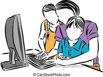 vektor, ábra, gyerekek, otthon, anyu, dolgozó