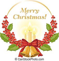 vektor, ábra, képben látható, egy, karácsony, theme.