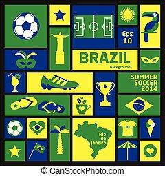 vektor, ábra, közül, brazília