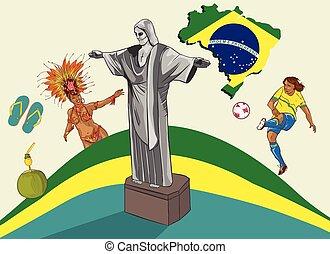 vektor, ábra, közül, egy, brazília