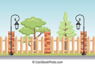 vektor, ábra, közül, egy, gyönyörű, nyár, városi park