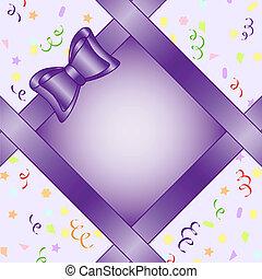 vektor, ábra, közül, egy, keret, noha, íj, képben látható, születésnap, téma, háttér