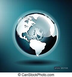 vektor, ábra, közül, egy, sima, földgolyó, képben látható, egy, blue háttér