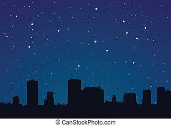 vektor, ábra, közül, egy, város, éjjel