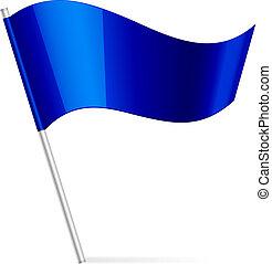 vektor, ábra, közül, kék, lobogó