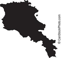 vektor, ábra, közül, térkép, közül, örményország