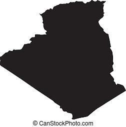 vektor, ábra, közül, térkép, közül, algéria