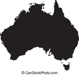 vektor, ábra, közül, térkép, közül, ausztrália
