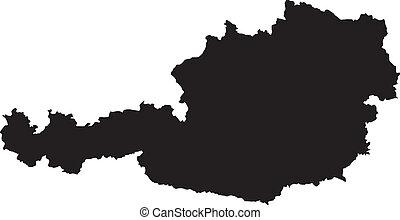 vektor, ábra, közül, térkép, közül, ausztria