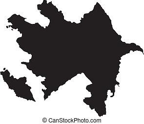vektor, ábra, közül, térkép, közül, azerbajdzsán