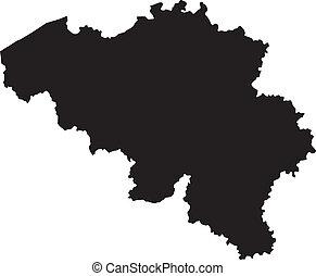 vektor, ábra, közül, térkép, közül, belgium