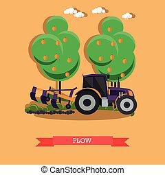 vektor, ábra, közül, traktor, szántás, talaj, alatt, lakás, mód