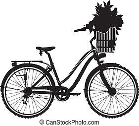 vektor, ábra, közül, város, bicikli, fekete, árnykép
