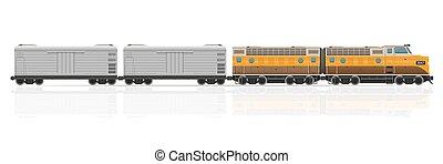 vektor, ábra, kiképez, wagons, vasút, lokomotív