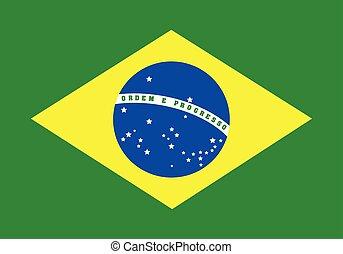 vektor, ábra, lobogó, közül, brazília