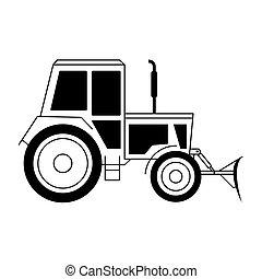 vektor, ábra, noha, egy, traktor