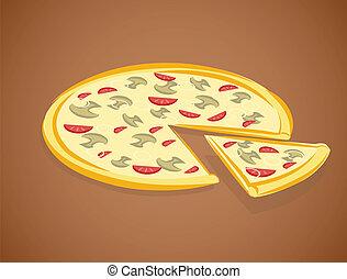 vektor, ábra, pizza