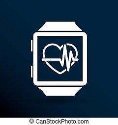 vektor, ábra, pulsometer, szív sebesség monitor, karóra,...