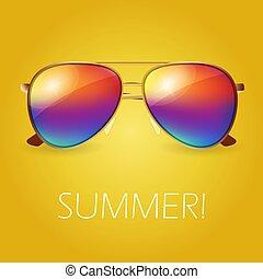 vektor, ábra, színezett, nyár, napszemüveg, gyakorlatias