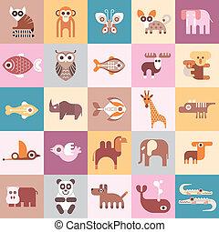 vektor, állatok, ábra