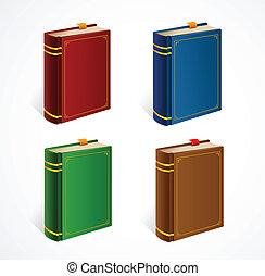 vektor, állhatatos, öreg, könyv, ikon