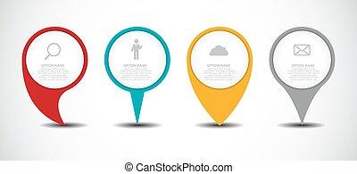 vektor, állhatatos, ügy, irányzók, ábra, infographic, karika, element.