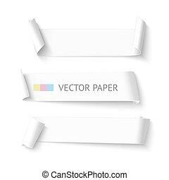 vektor, állhatatos, banner., gyakorlatias, dolgozat, sablon, tiszta, görbe, horizontális, white szalag